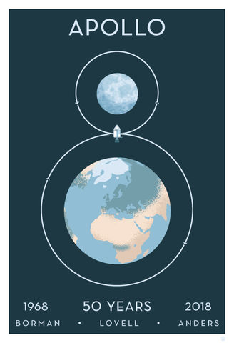 Apollo,8,13x19,Limited,Edition,Giclee,-,Paper,print,giclee,apollo 8, apollo program, apollo anniversary, rocket, space art, spaceart, vector art, dane ault, monkey minion press, monkeyminion