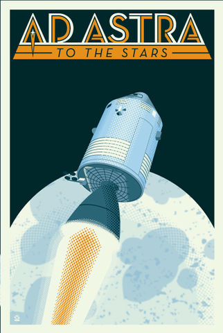 Ad,Astra,Apollo,Capsule,-,12x18,POPaganada,Print,geek,Nerd,POPaganda,space, apollo, apollo program, apollo project, apollo space, space art, monkey minion press, dane ault, moon landing, neil armstrong, james lovell, buzz aldrin,