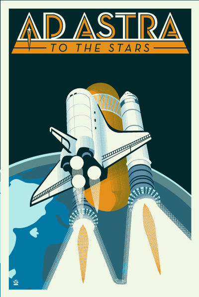 Ad Astra Space Shuttle - 12x18 POPaganada Print - product images