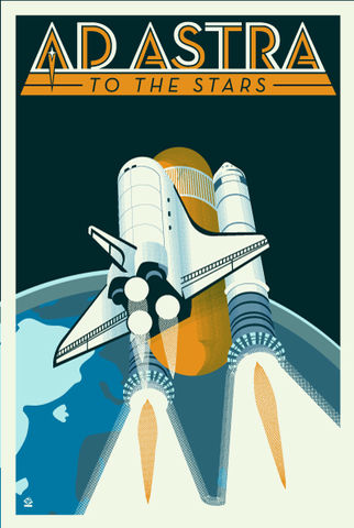Ad,Astra,Space,Shuttle,-,12x18,POPaganada,Print,geek,Nerd,POPaganda,space, space art, space shuttle, shuttle, STS, columbia, enterprise, endeavor, discovery, challenger, atlantis, chris hadfield, peggy whitson, mae jemison