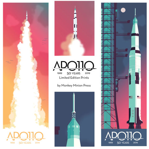 Apollo,11,50th,Anniversary,Two,12x36,Print,Set,print,limited,geek,Nerd,gicleé,space,nasa,apollo 11, apollo eleven, apollo 11 anniversary, eagle, usa