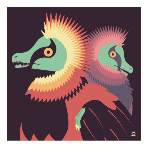 Raptors,10x10,Giclee,Print,nature,Design,raptors, velociraptors, dinosaur, avian, feathered, plumage, dane ault,