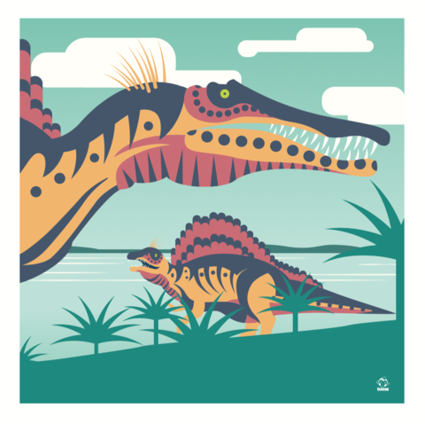 Spinosaurs,10x10,Giclee,Print,nature,Design, predator, spinosaurs, jurassic park, finned, spinosaur, graphic, dane ault