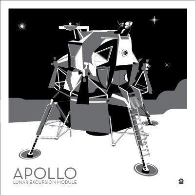 Apollo,Lunar,Lander,Probe,-,10x10,Giclee,Print,space,science,nasa,vector,print,apollo. lem, lunar lander, lunar excursion module, LEM