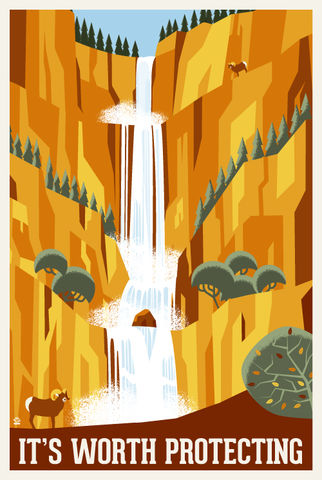 It's,Worth,Protecting,Waterfalls,-,12x18,POPaganada,Print,geek,Nerd,POPaganda,bison,usda,epa,nps,national parks, environment, save the environment