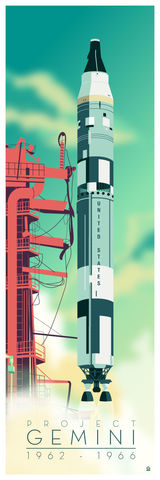 PREORDER,Project,Gemini,Space,Rocket,12x36,POPaganda,print,limited,geek,Nerd,gicleé,space,nasa,earth, gemini, project gemini, titan ii, titan, rocket, rocketship