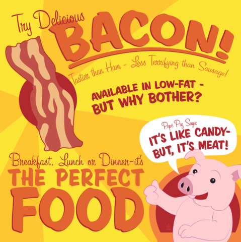 Eat,Bacon,8X8,Art,Print,poster,digital print,bacon, candy meat, bacon is gods food, food, funny, retro, retro sign, design