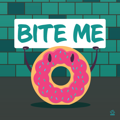 Bite,Me,Donut,8X8,Art,Print,poster,digital print,donut, bite me, rude donut, cute, cartoon