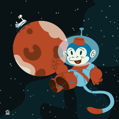 Space,Monkey,&,Mars,8X8,Art,Print,poster,digital print,ham, ham and cheese, space monkey, space art, kids book