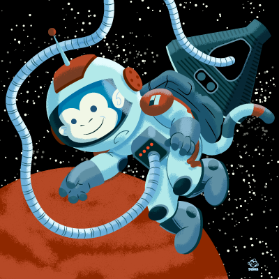 Space,Monkey,8X8,Art,Print,poster,digital print, space monkey, monkey, space, animals in space