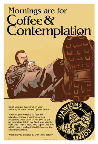 Stranger,Things,Coffee,&,Contemplation,Ltd,Ed,Giclee,print,giclee,stranger things, sheriff hopper, hop, coffee and contemplation, hawkins, upside down,