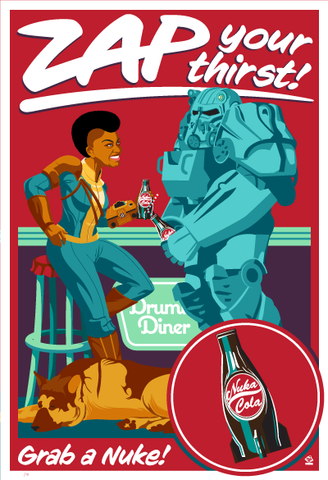 Zap,Your,Thirst,Fallout,Ltd,Ed,Giclee,print,giclee, fallout, nuka cola, nukaworld, fallout 4, dogmeat, coca cola, coke, advertisement