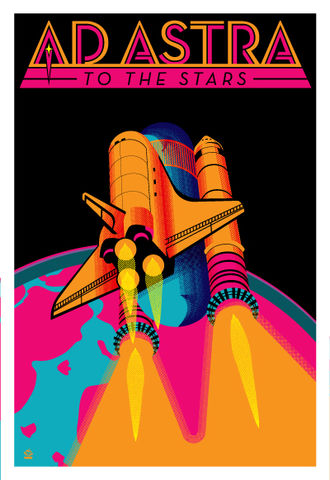 Ad,Astra,80s,Colors,Variant,Ltd,Ed,Print,print, digital, space shuttle, ad astra, 80s, throwback, retro, design, pop art