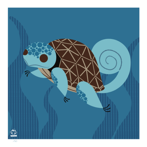 Squirtle,8x8,Mid-Century,Modern,Giclee,Print,nature,Design, pokemon, squirtle, mcm, midcentury, midmod, charley harper,, dane ault, graphic, vector, dinosaur