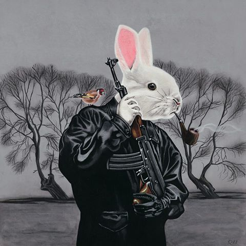 Mr,Snuggles,is,Straight,Outta,Cullompton,by,Julian,Quaye,Signed limited edition print, rabbit, anthropomorphic, low brow