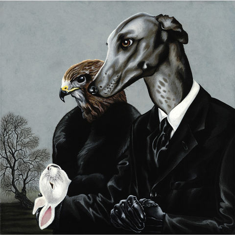 The,Sad,Demise,of,Mr,Snuggles,by,Julian,Quaye,Signed limited edition print, rabbit, anthropomorphic, low brow