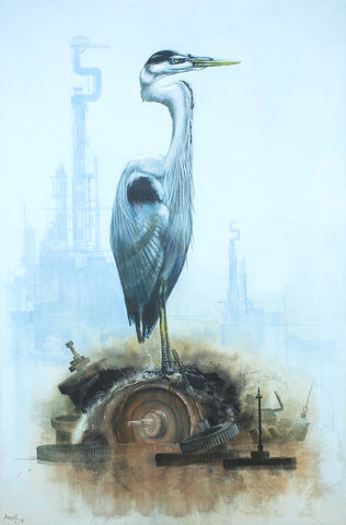 Heron,on,Scrap,by,Andrew,Burns,Colwill,Signed print, 20/50 Vision, Andrew Burns Colwill, Street art, Fine art, Environmental, Climate Change