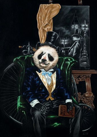 Boris,-,(Westminster,by,Gaslight),Julian,Quaye,Signed limited edition print, rabbit, anthropomorphic, low brow