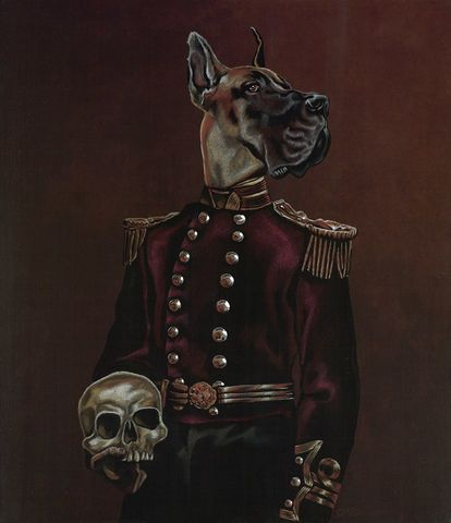 Buster,the,Dane,by,Julian,Quaye,Signed limited edition print, rabbit, anthropomorphic, low brow