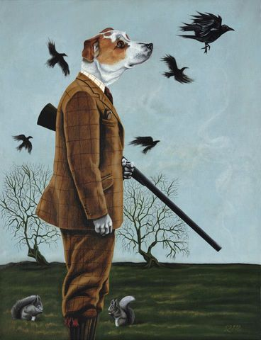 Barney,goes,a-hunting,by,Julian,Quaye,Signed limited edition print, rabbit, anthropomorphic, low brow