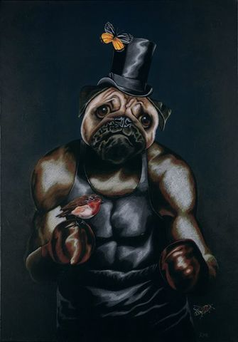 The,Contender,by,Julian,Quaye,Signed limited edition print, rabbit, anthropomorphic, low brow