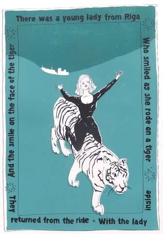 The,Lady,and,the,Tiger,by,Mary,Rouncefield,screenprints, art, maths, curves