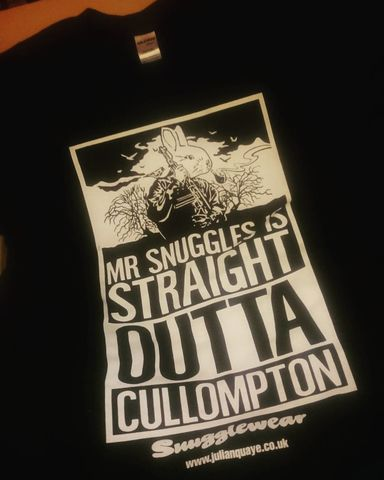 Mr,Snuggles,is,Straight,Outta,Cullomton,T-shirt,by,Julian,Quaye, Rabit, Gun, Straight Outta Compton