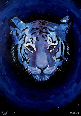 Tiger,Eclipse,signed,limited,edition,print,by,JWest, signed limited edition print, JWest