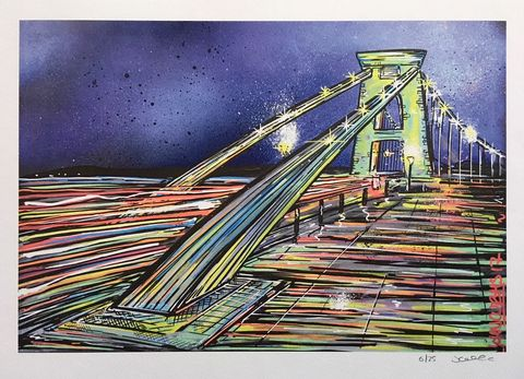 Clifton,Suspension,Bridge,at,night,-,signed,limited,edition,print,by,John,Curtis,Limited edition print, Clifton Suspension Bridge, John Curtis