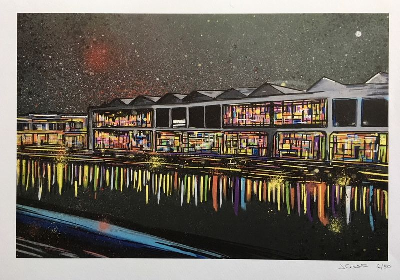 Bristol Waterfront at Night- signed limited edition print by John Curtis - product images