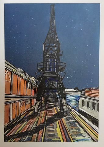 Bristol,Cranes,and,M-Shed,at,Night-,signed,limited,edition,print,by,John,Curtis,Limited edition print, Bristol, Waterfront, John Curtis