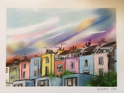 Hotwells,Houses,-,signed,limited,edition,print,by,John,Curtis,Limited edition print, Bristol, Hotwells, John Curtis
