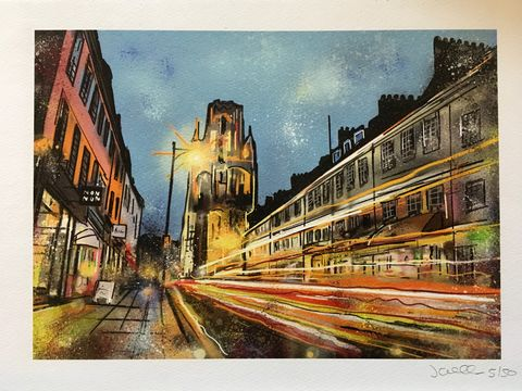 Park,Street,at,Night,-,signed,limited,edition,print,by,John,Curtis,Limited edition print, Bristol, Park Street John Curtis