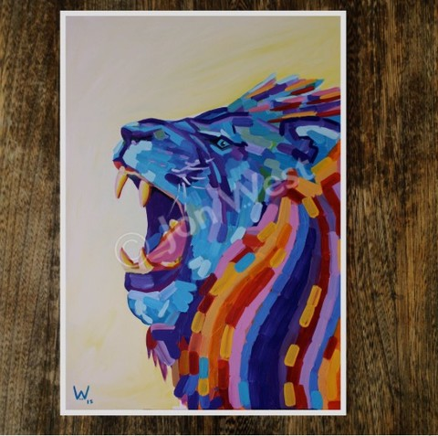 Roaring,Ketan,signed,limited,edition,print,by,JWest,Lion, signed limited edition print, JWest
