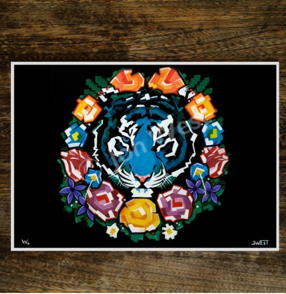 Tiger Wreath signed limited edition print by JWest - product images