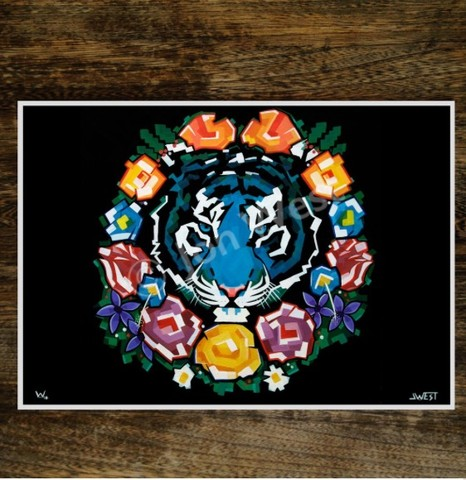 Tiger,Wreath,signed,limited,edition,print,by,JWest, signed limited edition print, JWest
