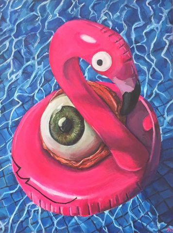 SOLD,Eye,is,Sunburn,limited,edition,print,by,Jimmer,Willmott,Limited edition print, Jimmer Willmott, pop surrealism,