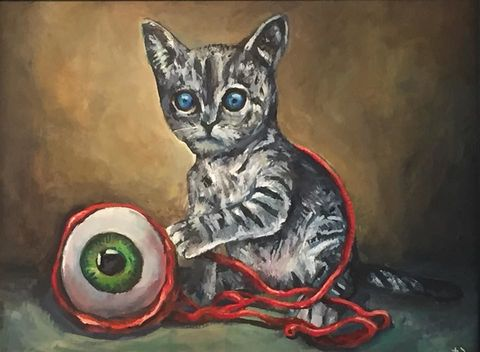Looking,for,my,Forever,Home,limited,edition,print,by,Jimmer,Willmott,Limited edition print, Jimmer Willmott, pop surrealism, cat