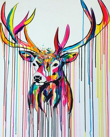 Rainbow,Stag,by,Sophie,Long,Signed,limited,edition,print,Giclee Print, Stag, Rainbow, art, affordable art, Sophie Long