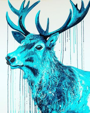 Blue,Stag,by,Sophie,Long,Signed,limited,edition,print,Giclee Print, Stag,  art, affordable art, Sophie Long