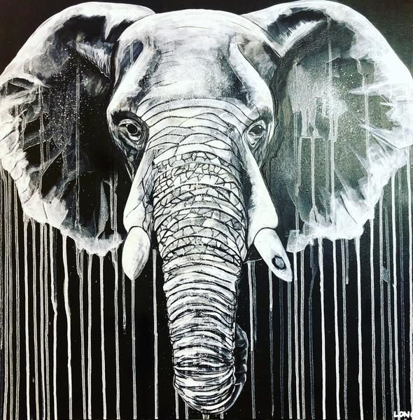 White on Black Elephant by Sophie Long Signed limited edition print - product images
