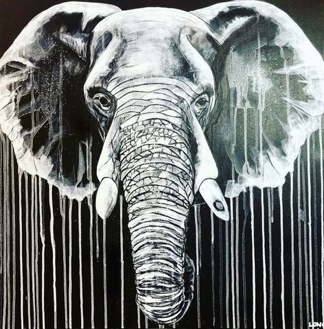 White,on,Black,Elephant,by,Sophie,Long,Signed,limited,edition,print,Giclee Print, Elephant, Black and White,,  art, affordable art, Sophie Long