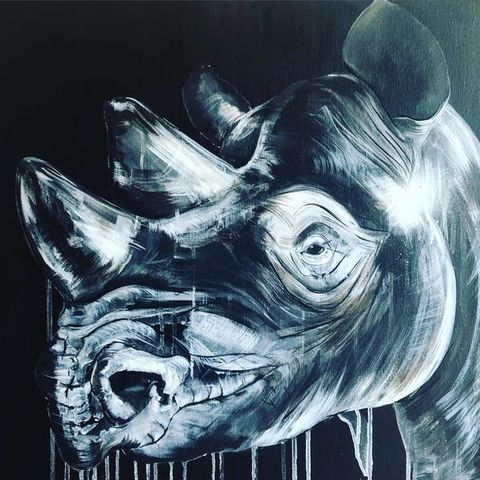 White,on,Black,Rhino,by,Sophie,Long,Signed,limited,edition,print,Giclee Print, Rhino, Black and White,,  art, affordable art, Sophie Long