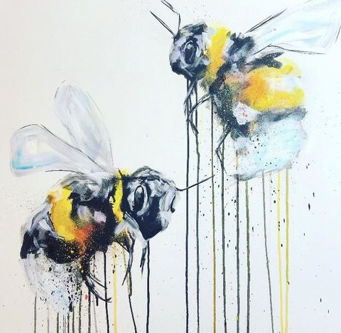 Des,Abelles,by,Sophie,Long,Signed,limited,edition,print,Giclee Print, Bees, , Black and White,,  art, affordable art, Sophie Long