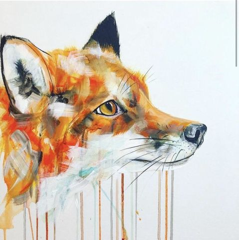 Fox,Face,by,Sophie,Long,Signed,limited,edition,print,Giclee Print, Fox,  art, affordable art, Sophie Long