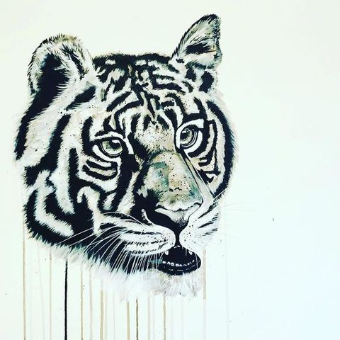 Young,Tiger,by,Sophie,Long,Signed,limited,edition,print,Giclee Print, Tiger,  art, affordable art, Sophie Long