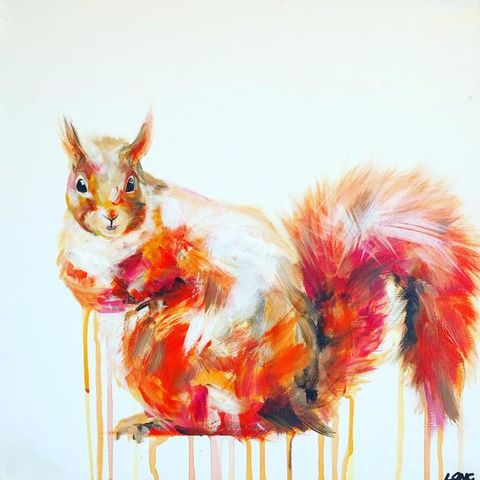 Red,Squirrel,by,Sophie,Long,Signed,limited,edition,print,Giclee Print, Squirrel, Red Squirrel,  art, affordable art, Sophie Long