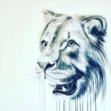 Young,Lion,by,Sophie,Long,Signed,limited,edition,print,Giclee Print, Lion, Big Catl,  art, affordable art, Sophie Long