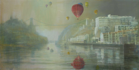 Red,balloon,and,bridge,by,Andrew,Burns,Colwill,Signed print,  Andrew Burns Colwill, Street art, Fine art, Environmental,