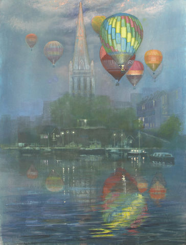 Balloons,with,Cathedral,by,Andrew,Burns,Colwill,Signed print,  Andrew Burns Colwill, Street art, Fine art, Environmental,